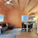 Living room natural timber finish walls