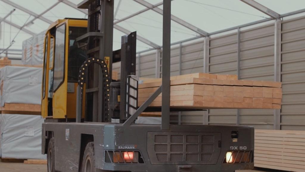 Loading timber at manufacturing facility